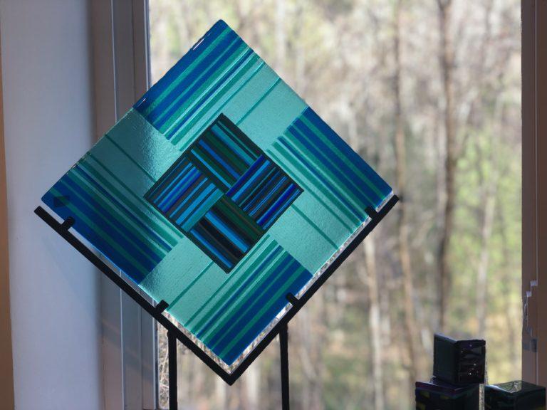 Kiln formed glass piece by Fyreglas